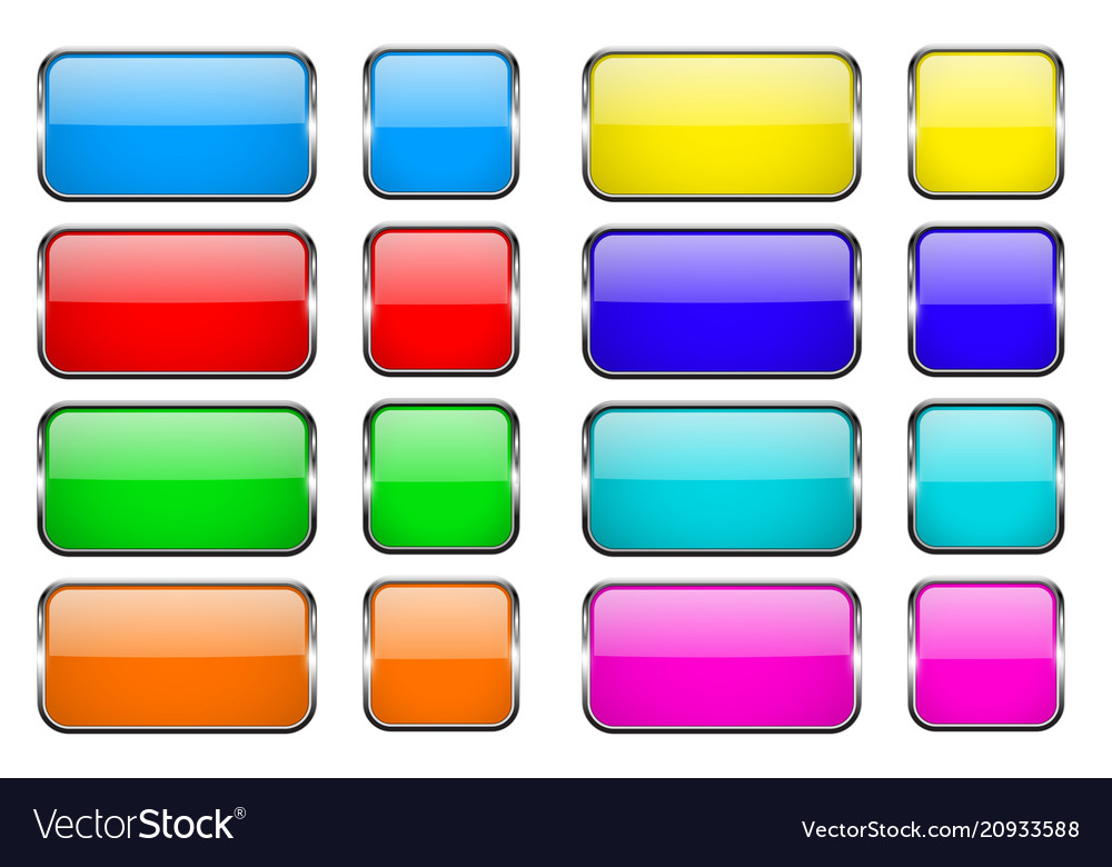 Colored rectangle glass 3d buttons with metal