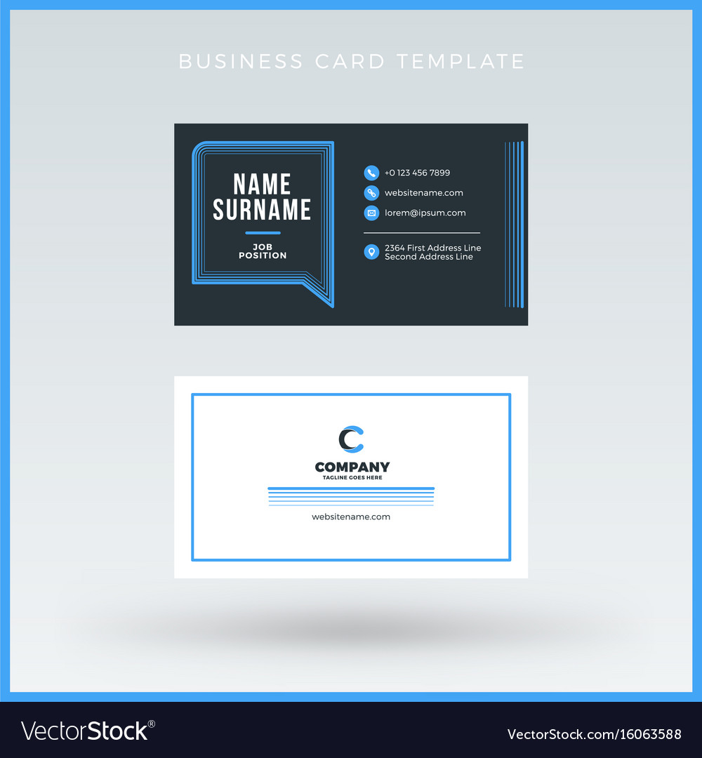 Double Sided Blue Business Card Template Vector Image