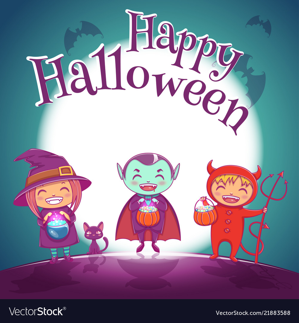 Halloween poster with kids in costumes of witch