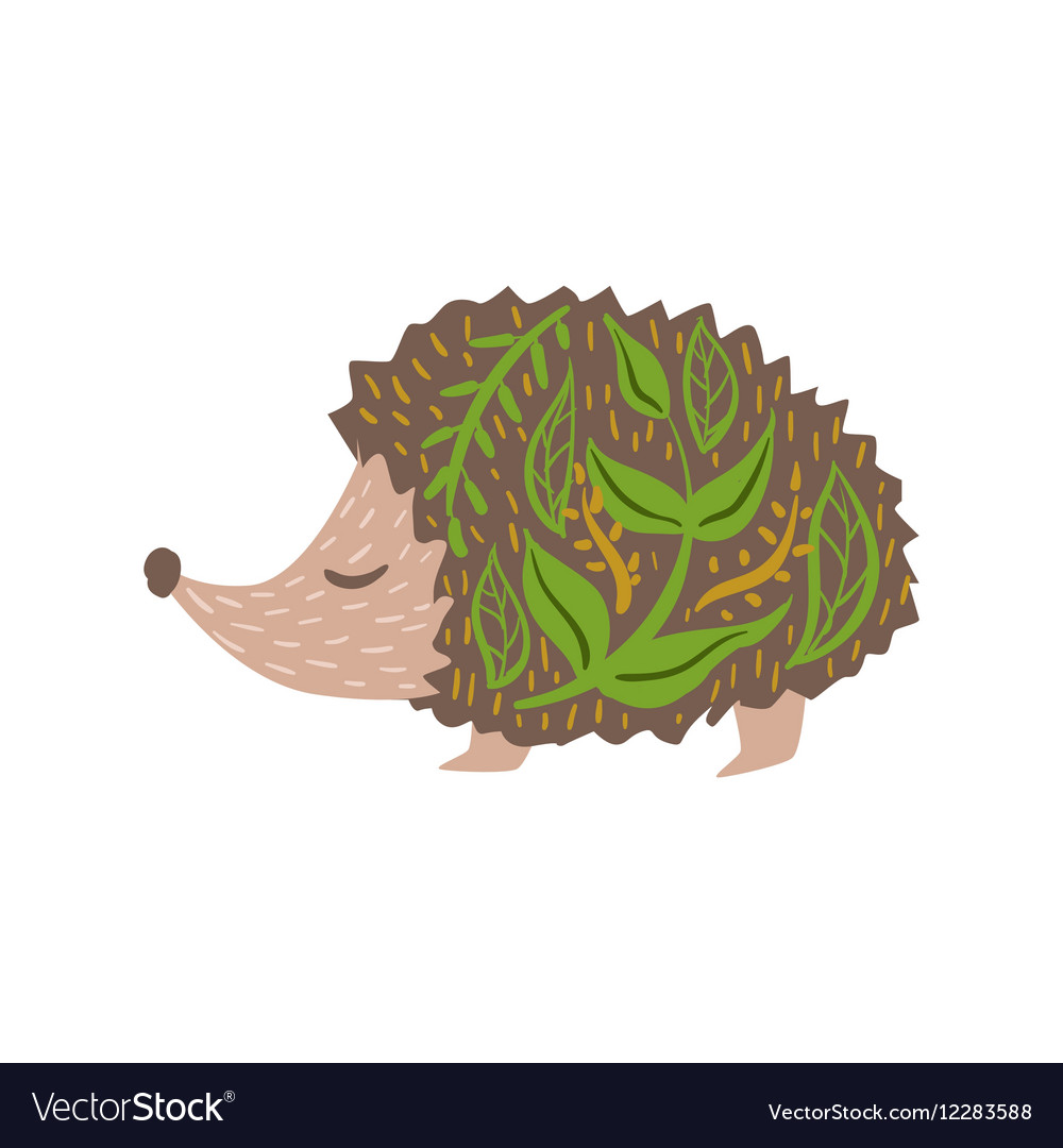 Hedgehog Relaxed Cartoon Wild Animal With Closed