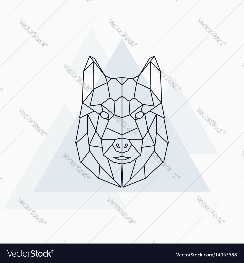 Husky dog abstract geometric animal