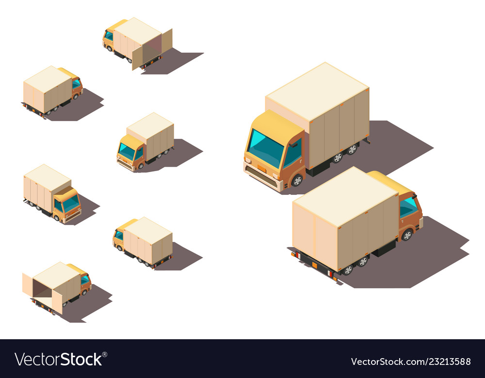 Isometric 3d set small shipment truck for delivery