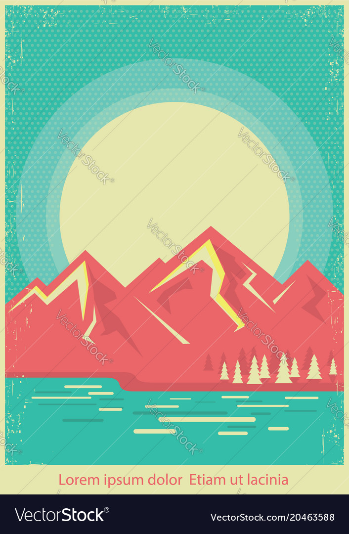 Mountain lake nature landscape on retro poster