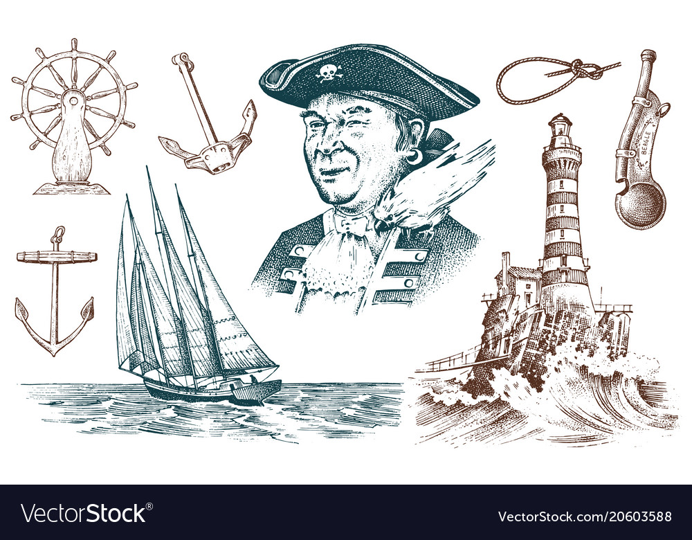 Pirate and lighthouse and sea captain marine