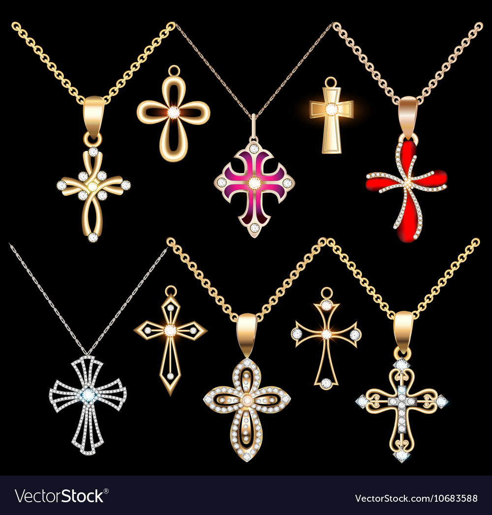 Set gold and silver cross pendant