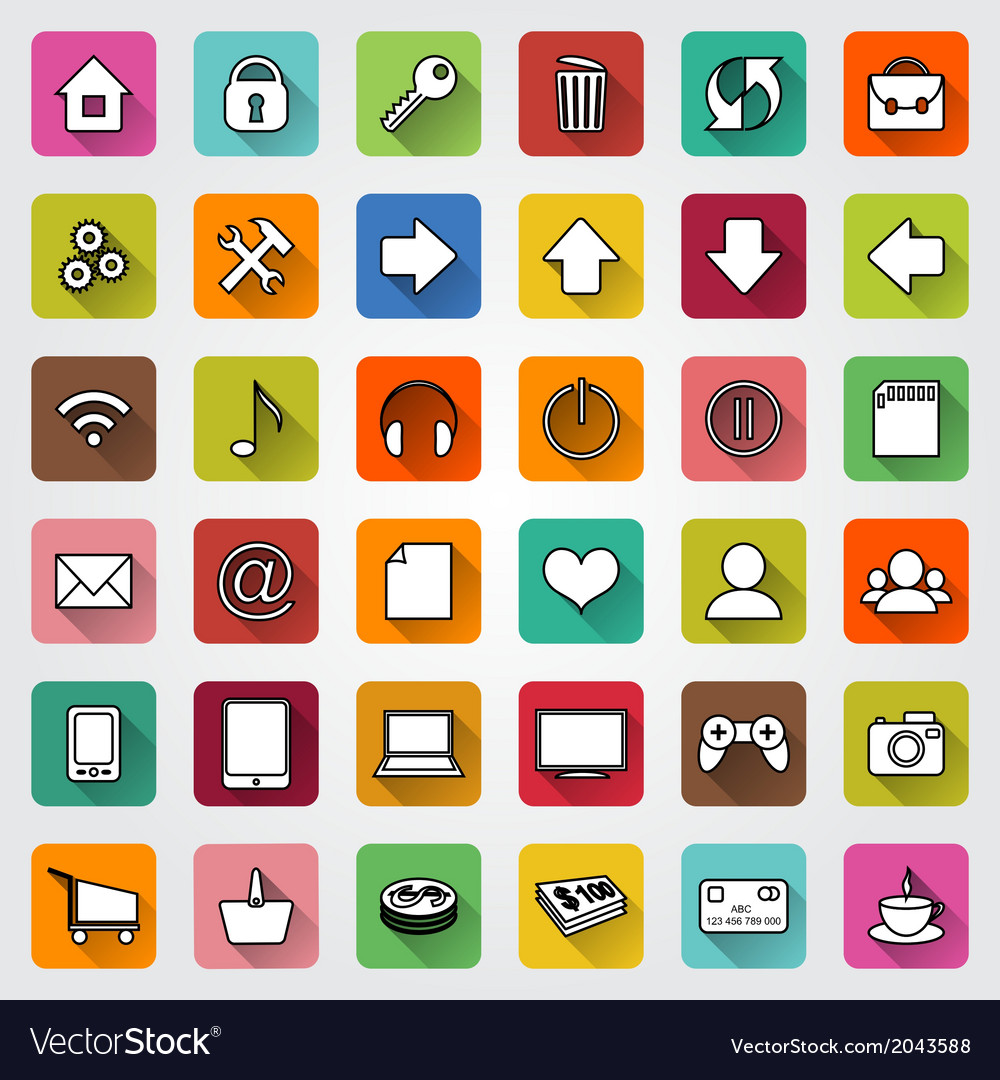 Set of flat icons for e commerce web site vector image altavistaventures Images
