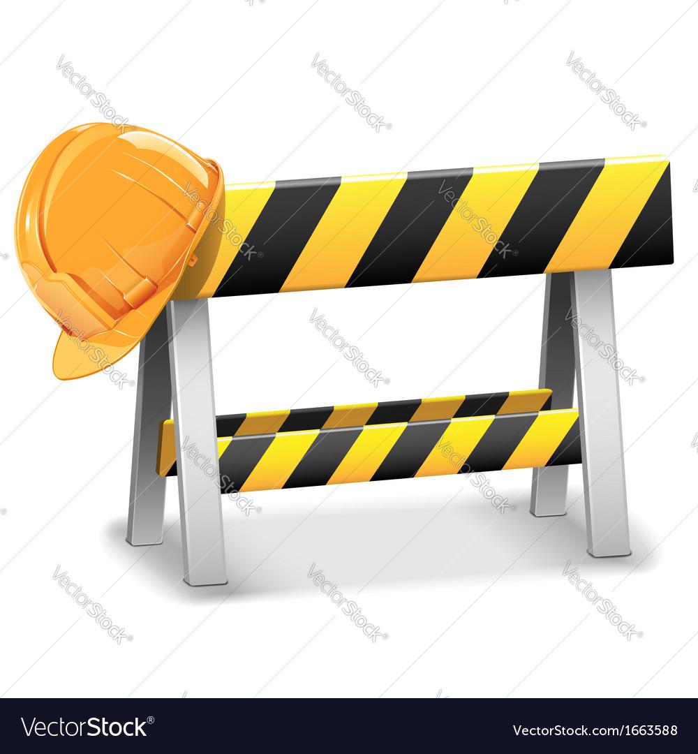 Under Construction Barrier with Helmet vector image