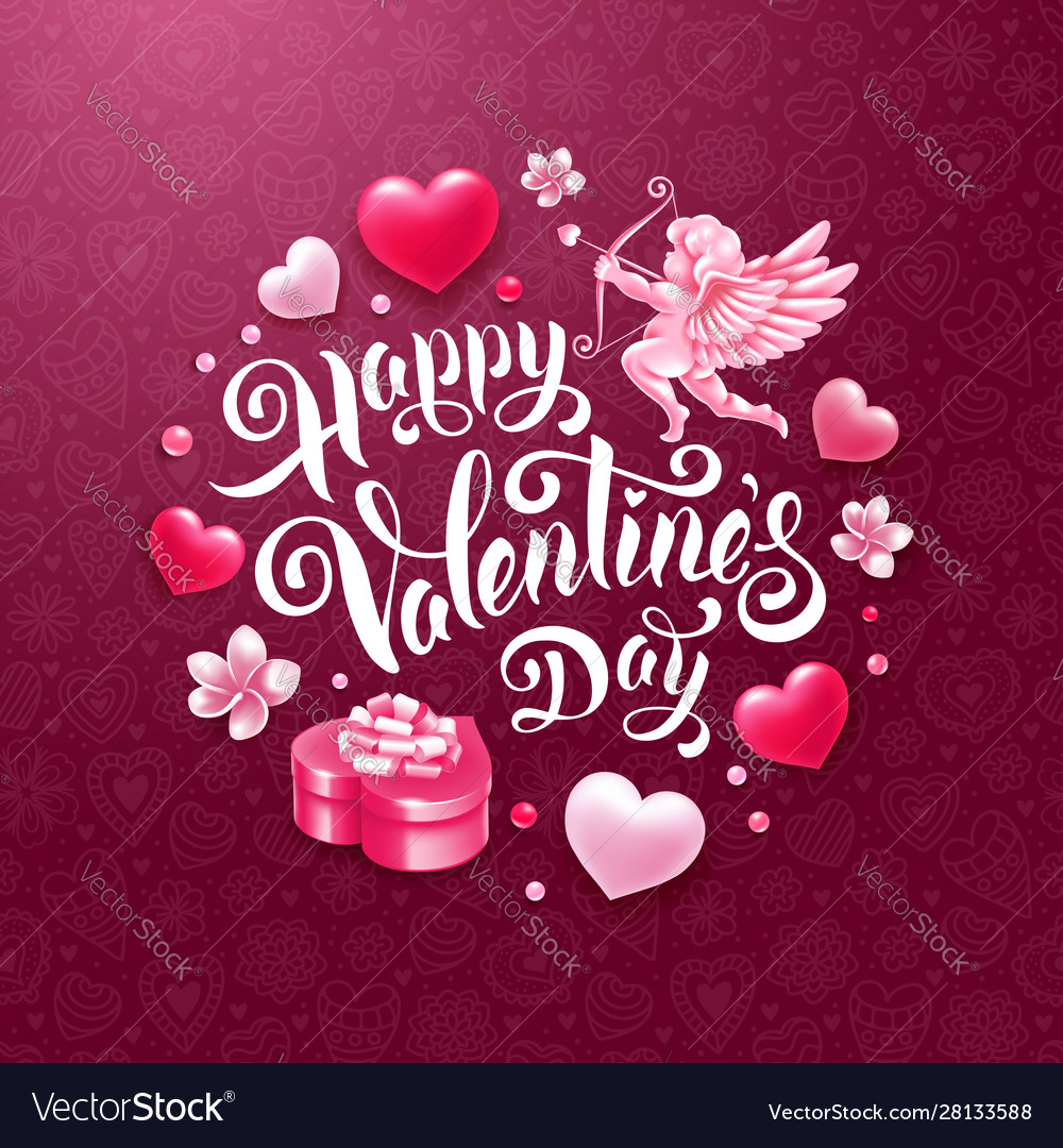 Valentines day greeting card with cupid gift and