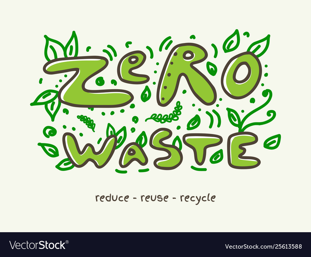Zero waste banner with doodle lettering and leaves