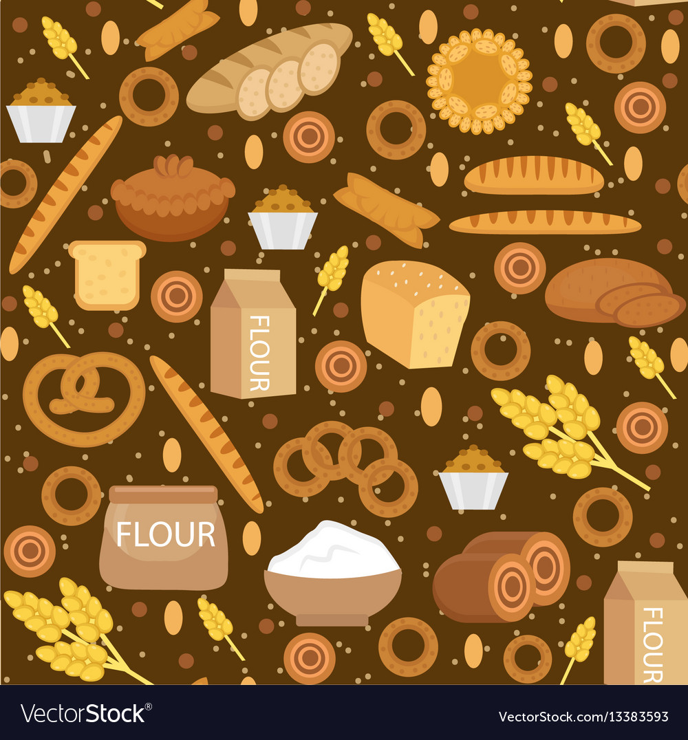 Bakery products seamless pattern with bread loaf