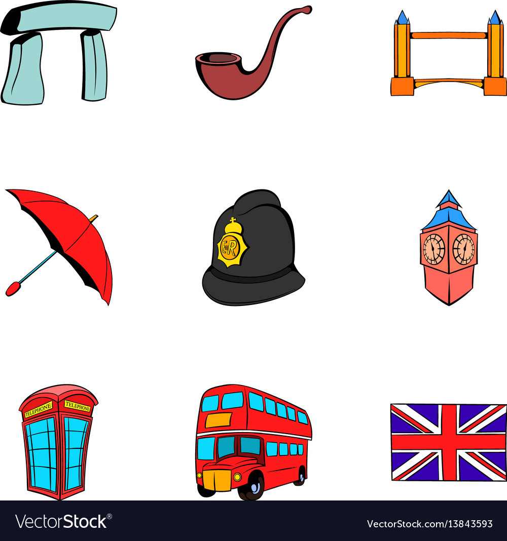britain icons set cartoon style royalty free vector image