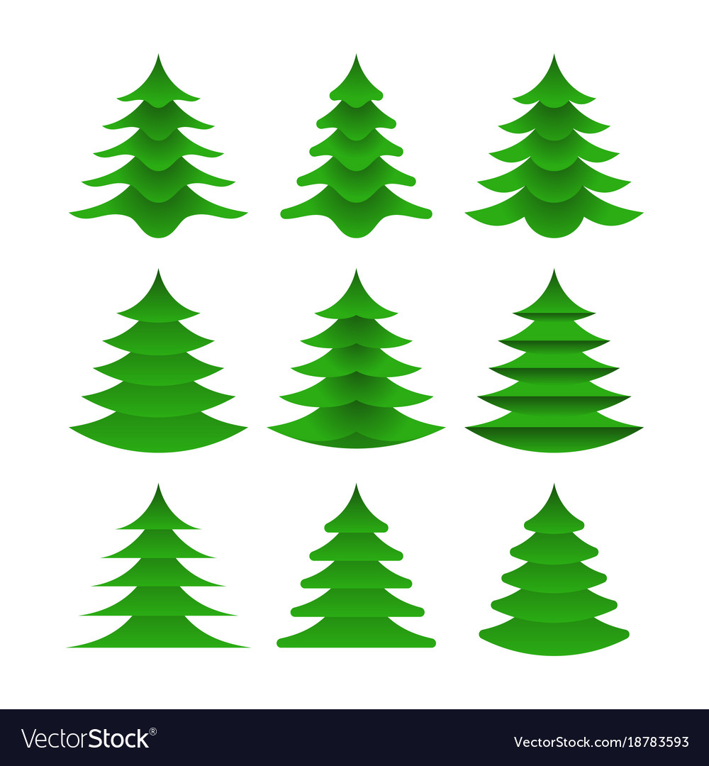 Designer collection christmas trees in flat style Vector Image