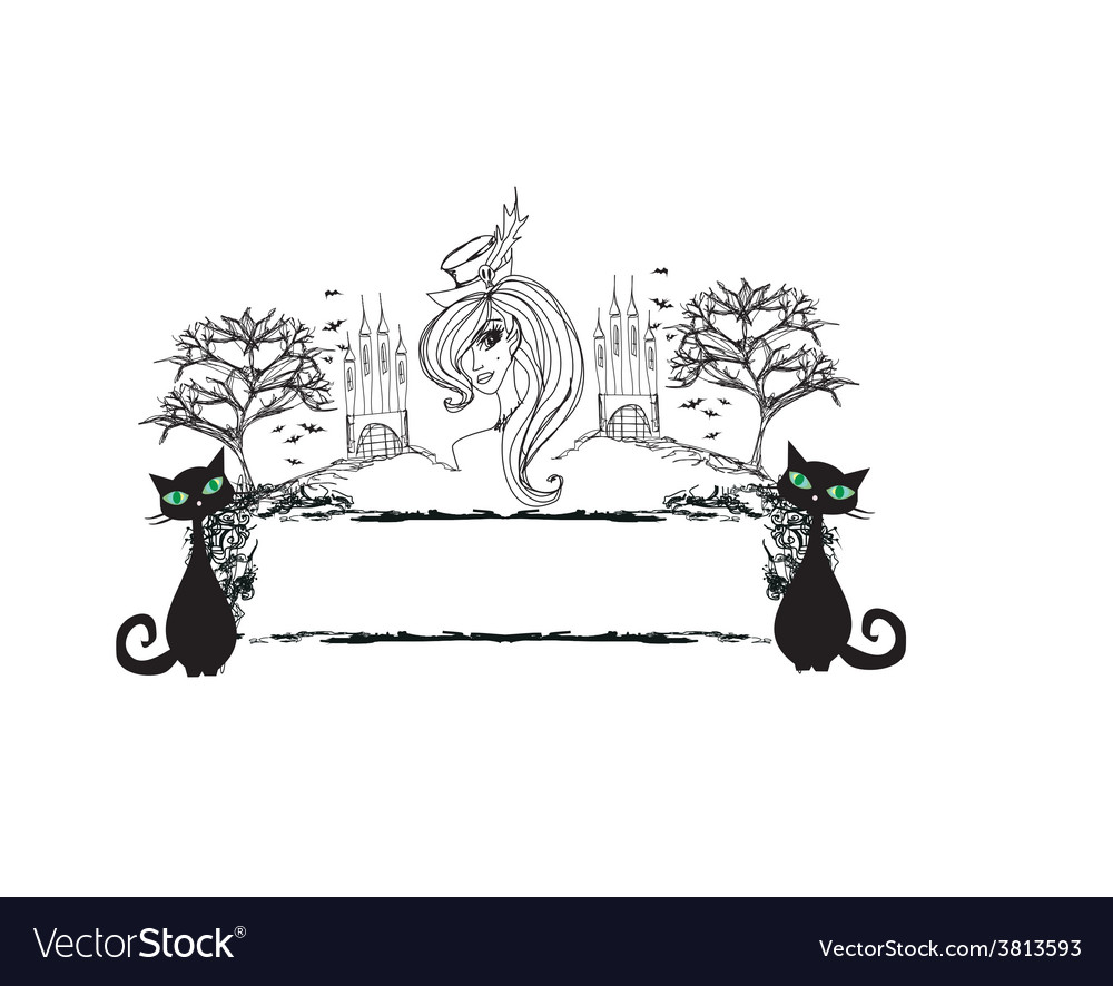 Halloween witch and her cat - abstract grunge vector image