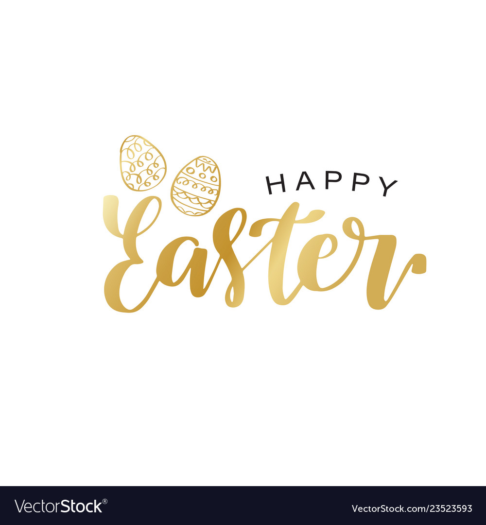 Happy easter calligraphy design hand drawn