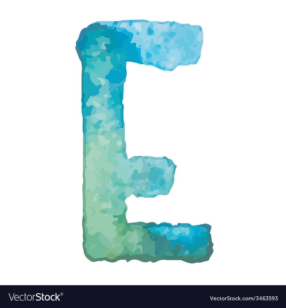 Letter E Colorful watercolor aquarelle font type
