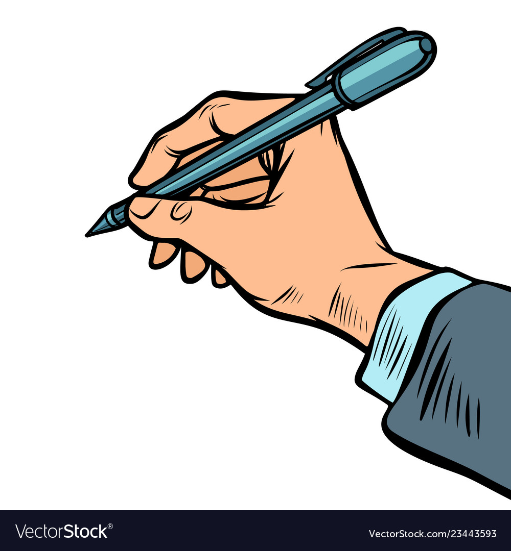 Man hand with a pen