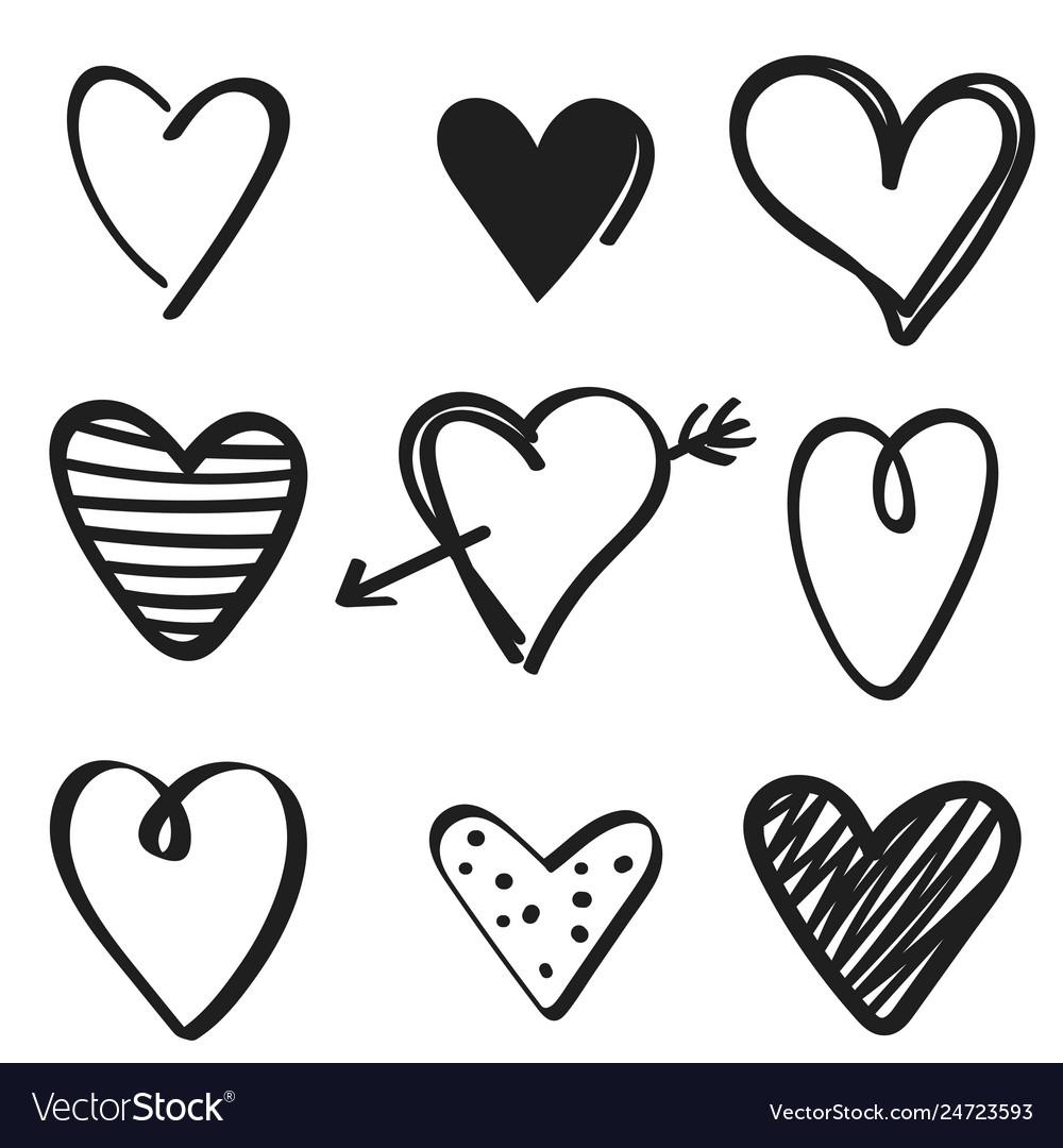 Set hand drawn hearts on white background
