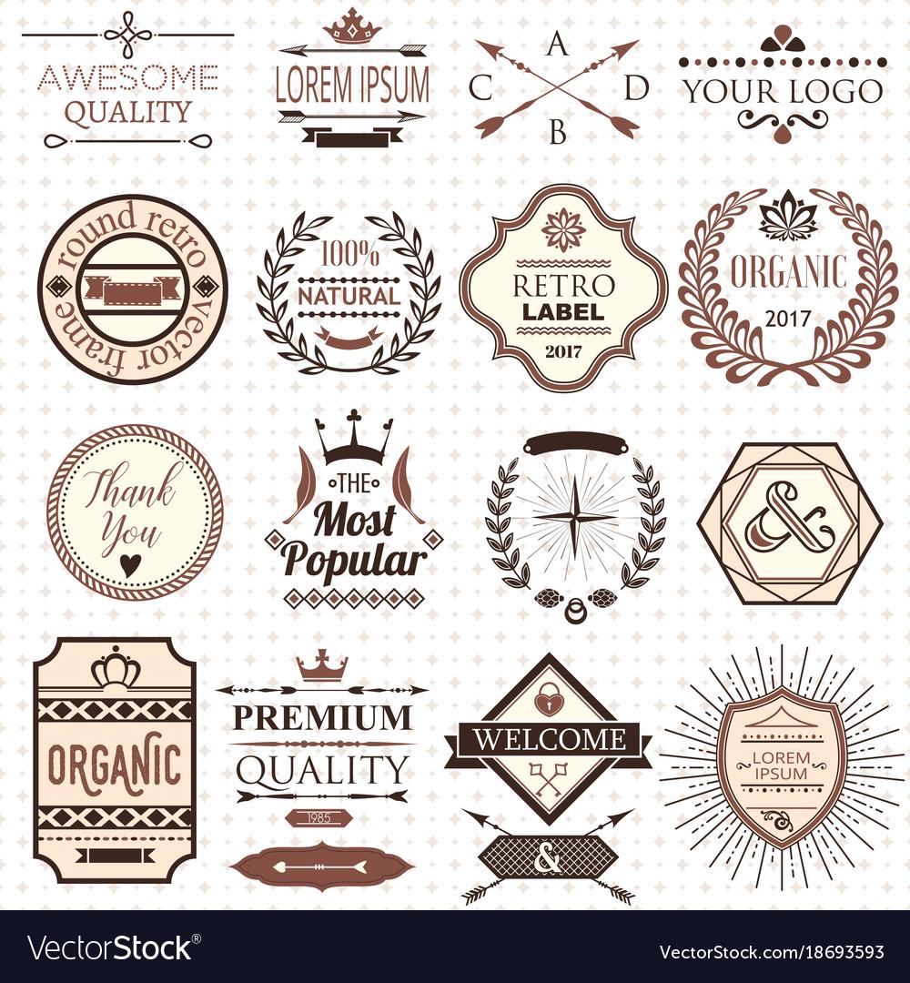 Set of retro design labels and elements