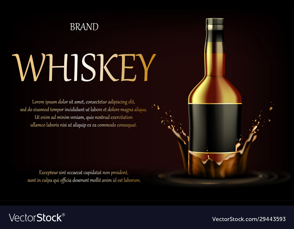 Whiskey drink ads realistic glass whisky strong