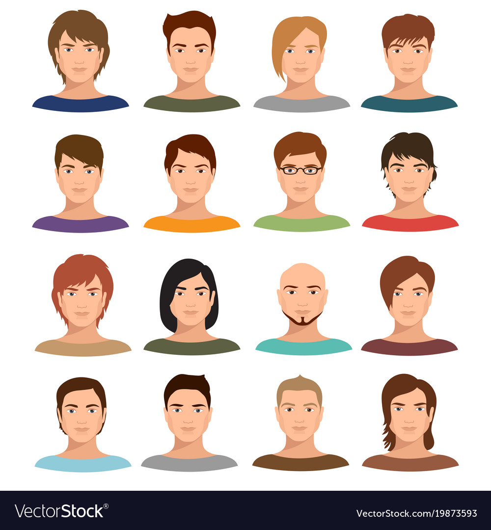 Young cartoon man portraits with various hairstyle