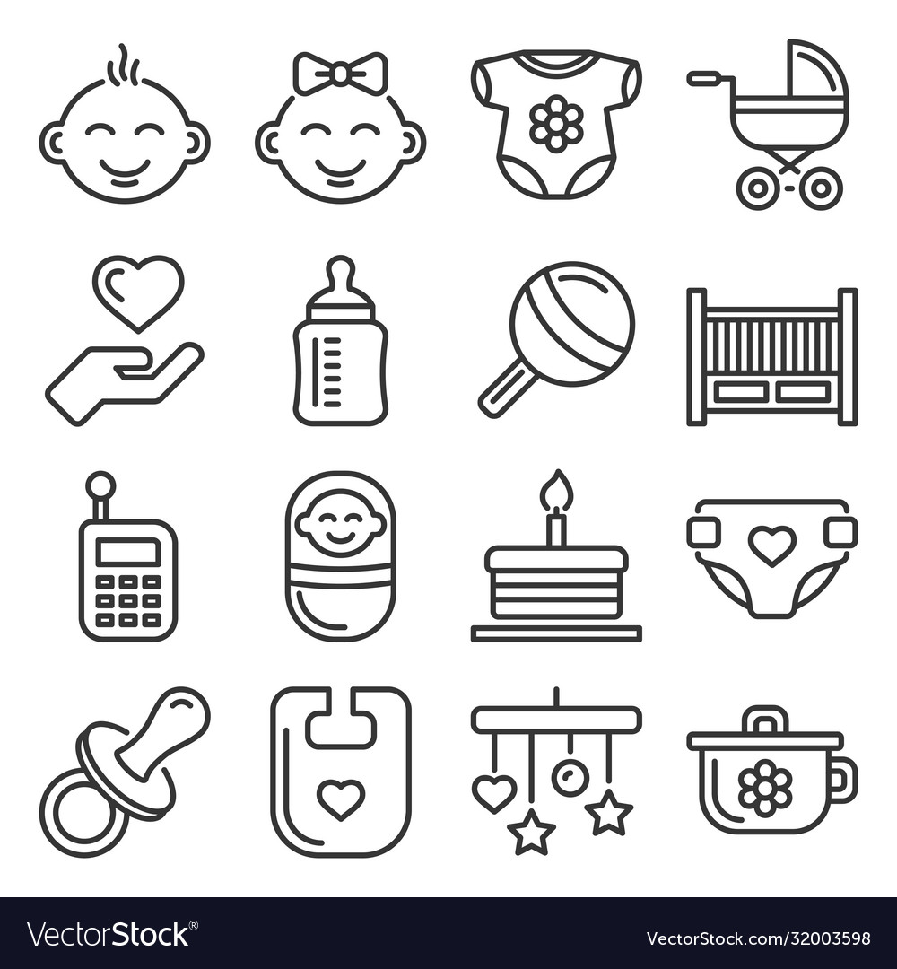 Baand childhood icons set on white background