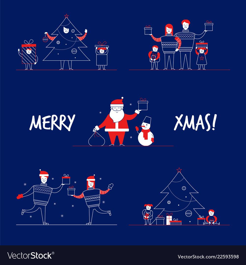 Cartoon flat family characters winter holidays