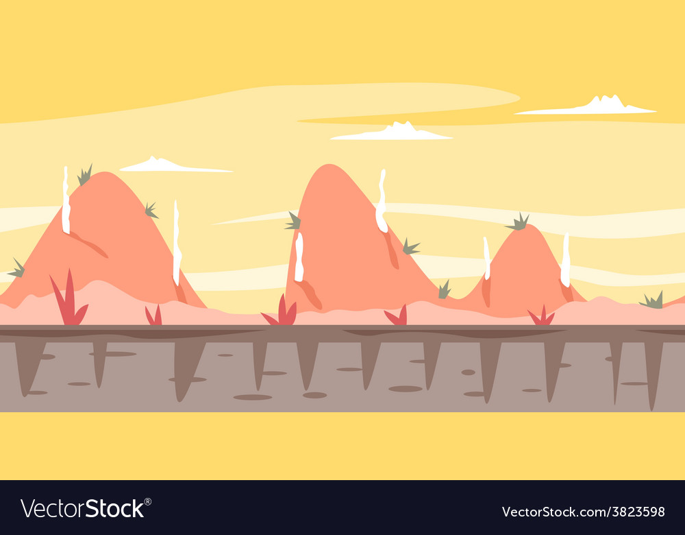 Cartoon Hills Game Background vector image
