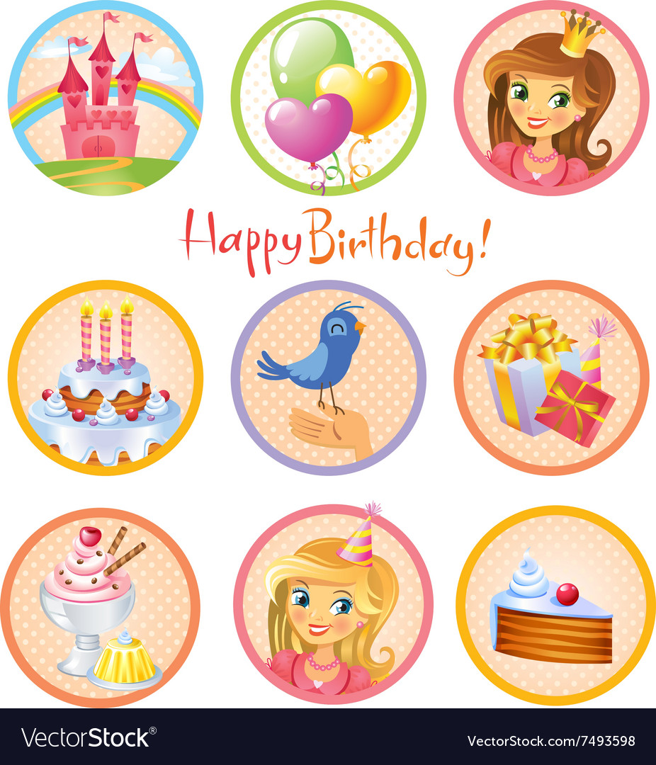 Cute birthday stickers vector image