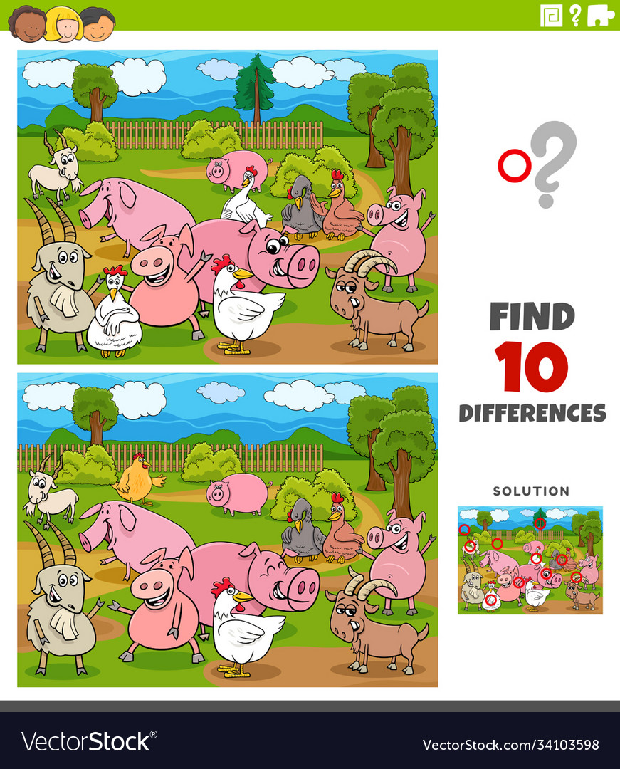 Differences educational game with farm animal