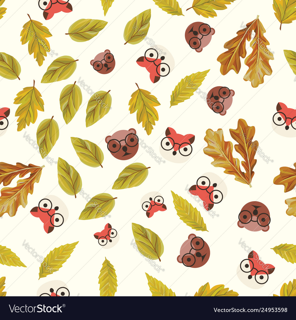 Flat fox and bear with autumn leaves seamless
