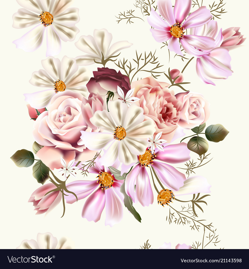 Floral seamless pattern with rose flowers