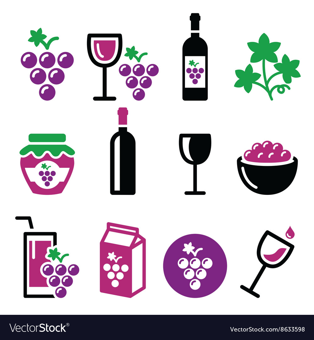 Grapes wine - food and beverages icons set