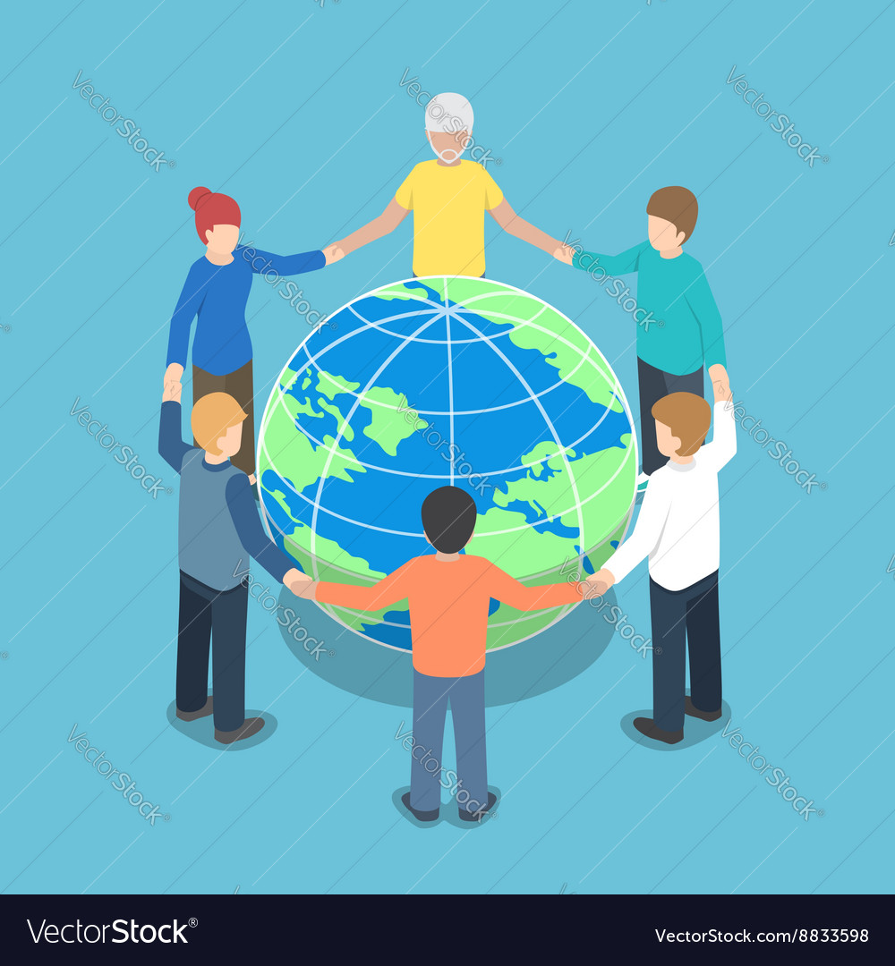 Isometric people around world holding hands