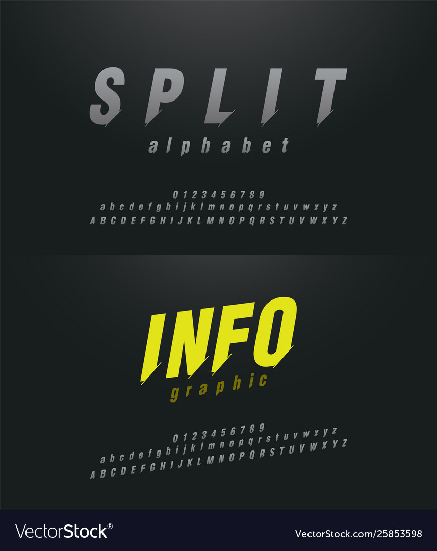 Modern abstract font alphabet numbers italic set