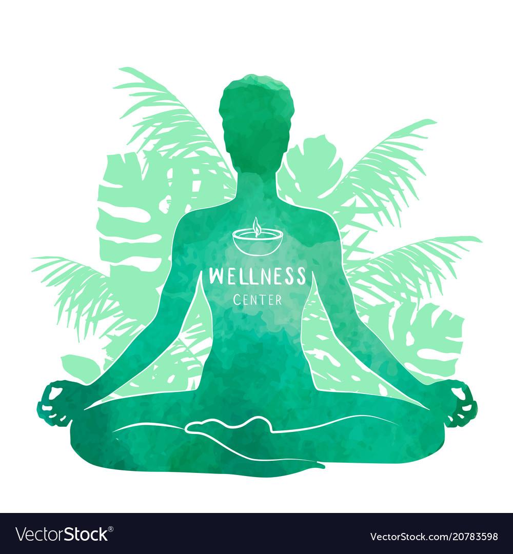 Practicing Yoga Meditation Watercolor Silhouette Vector Image