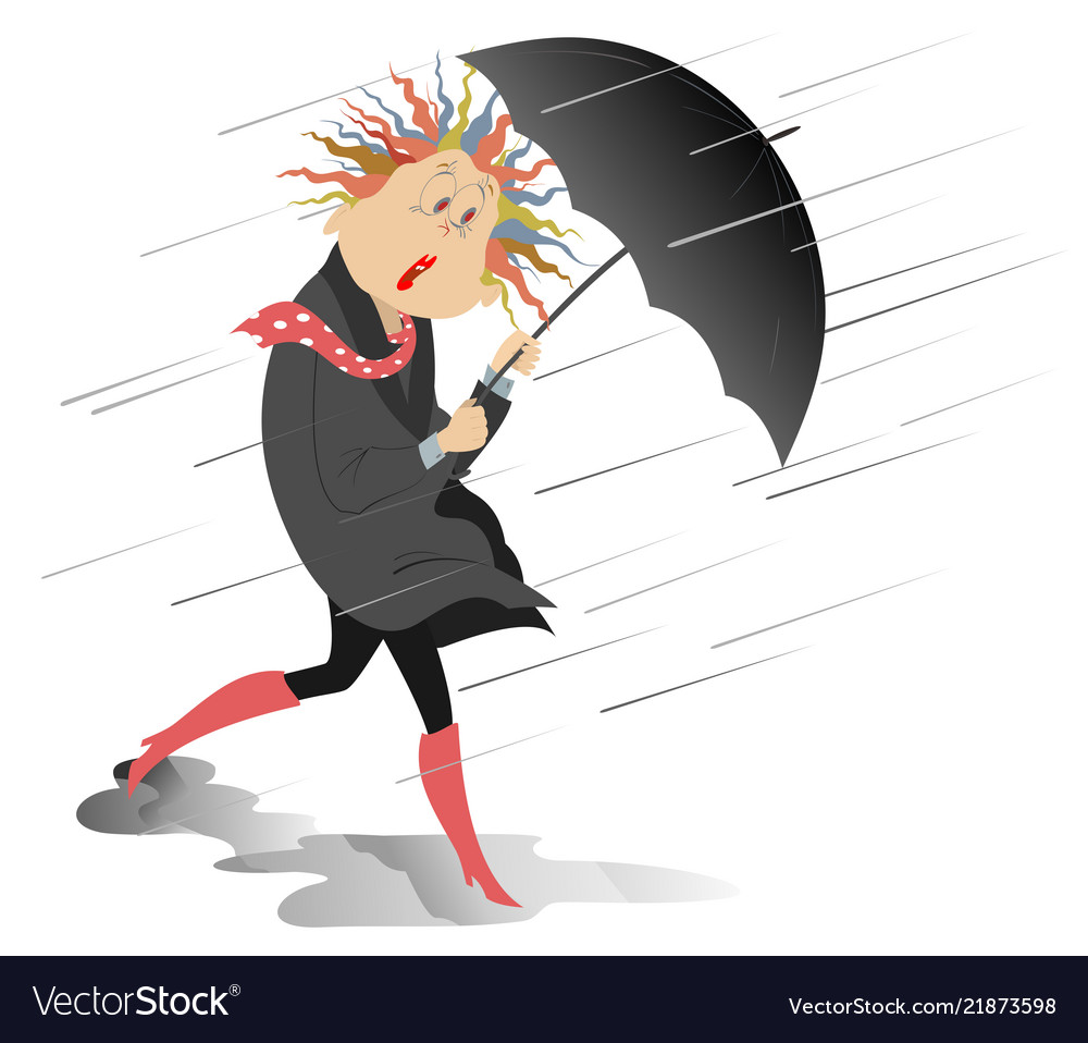Strong wind rain and woman with an umbrella isola