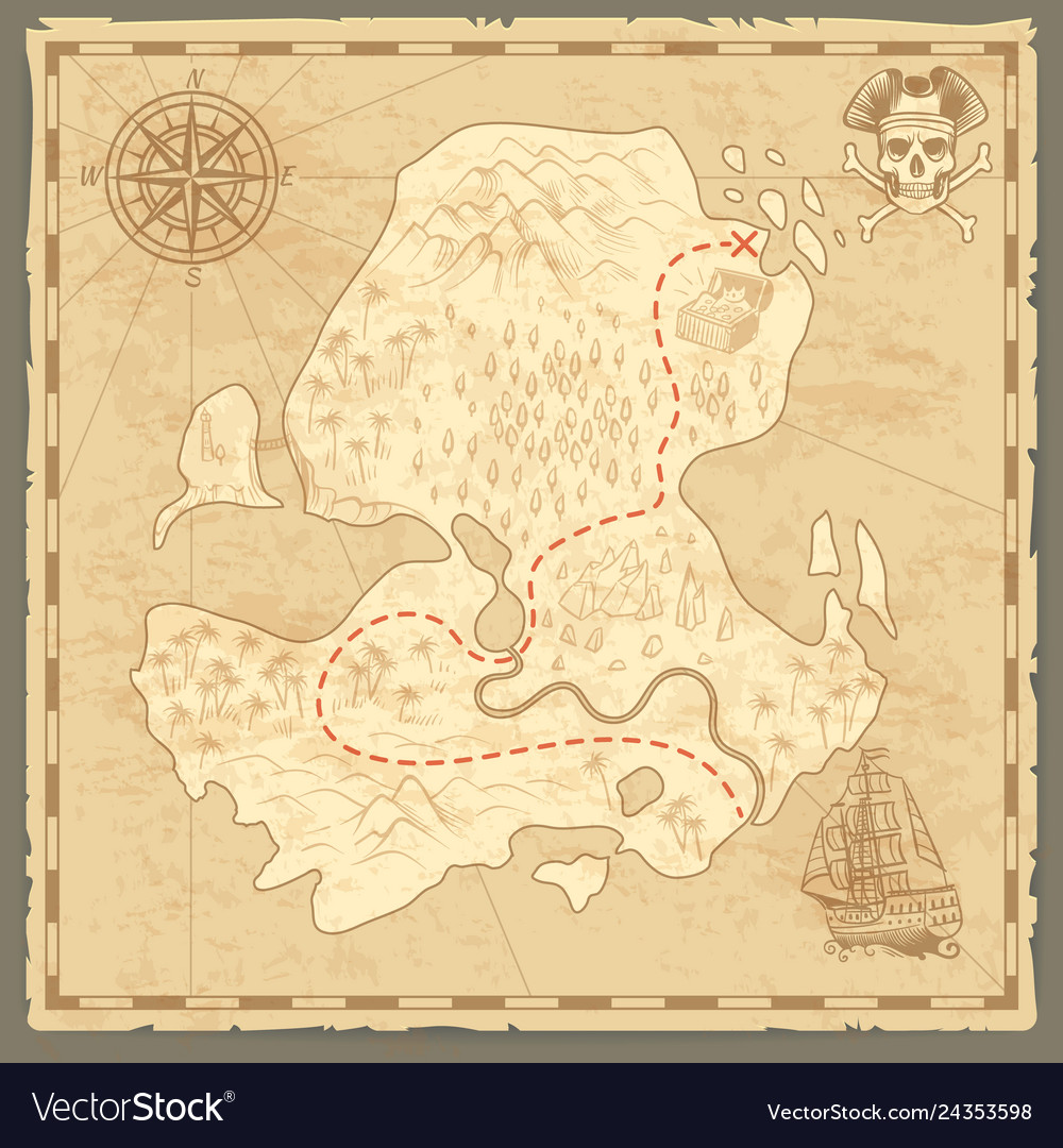 Treasure island map retro wallpaper vintage