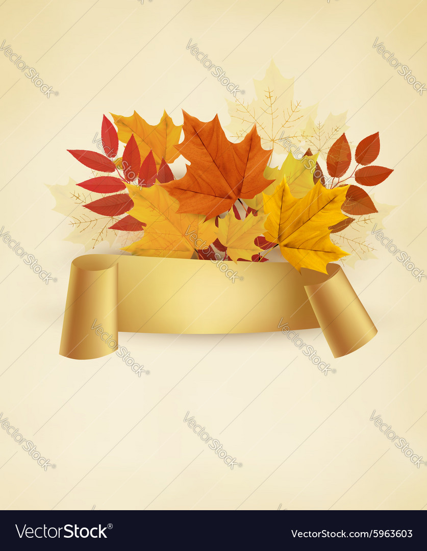 Autumn banner background with colorful leaves