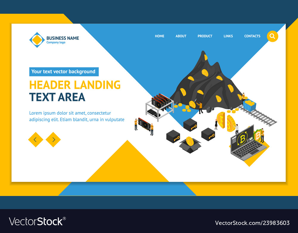 Bitcoin mining concept landing web page template