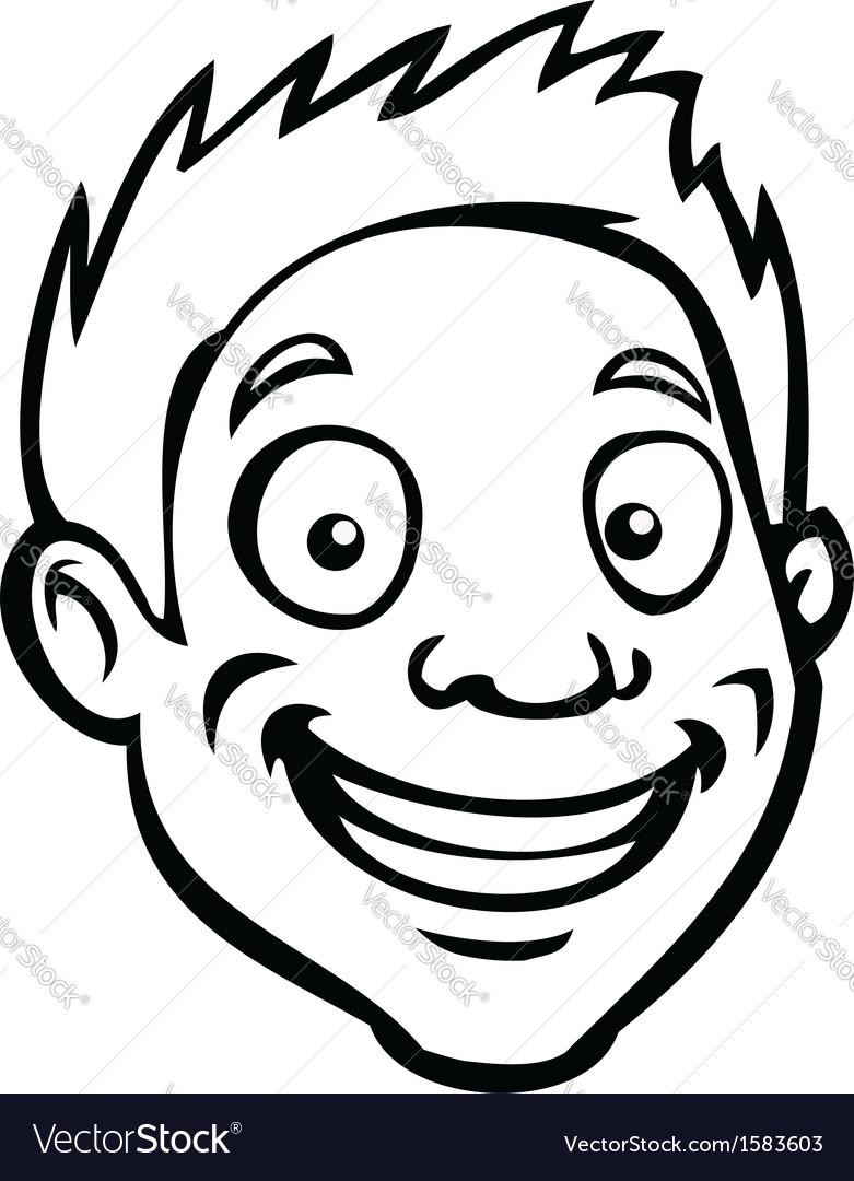 Black and white male cartoon head