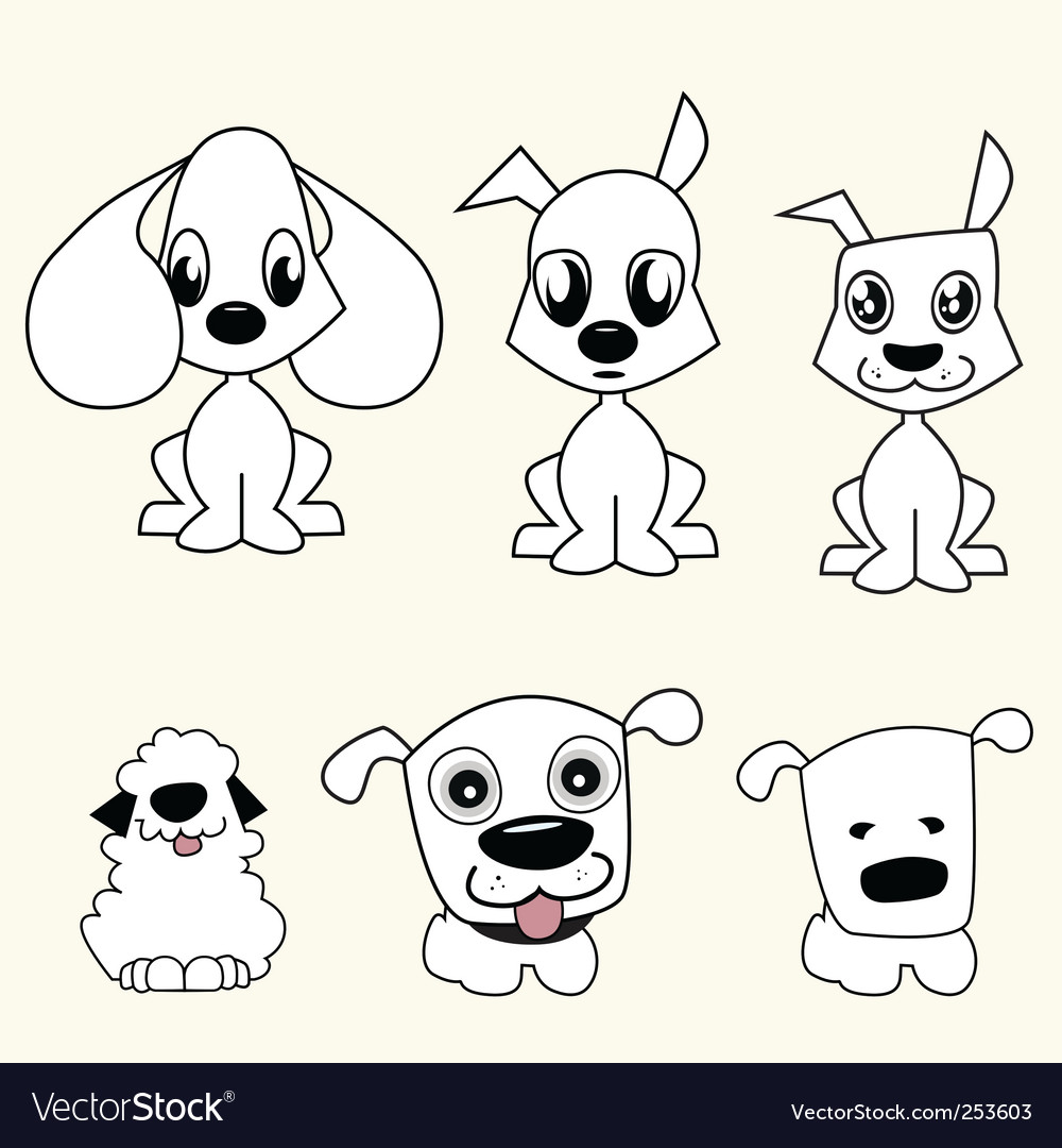 Image of: Images Cartoon Dogs Vectorstock Cartoon Dogs Royalty Free Vector Image Vectorstock