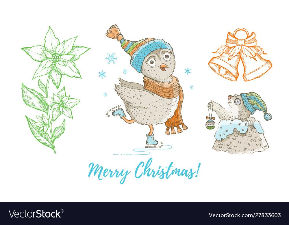 Christmas doodle owl bird mole jingle bell