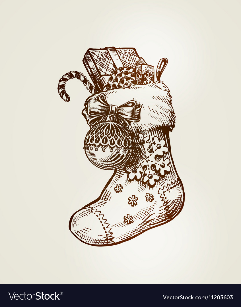 Drawings Of Christmas Stockings.Christmas Sock With Gifts Sketch