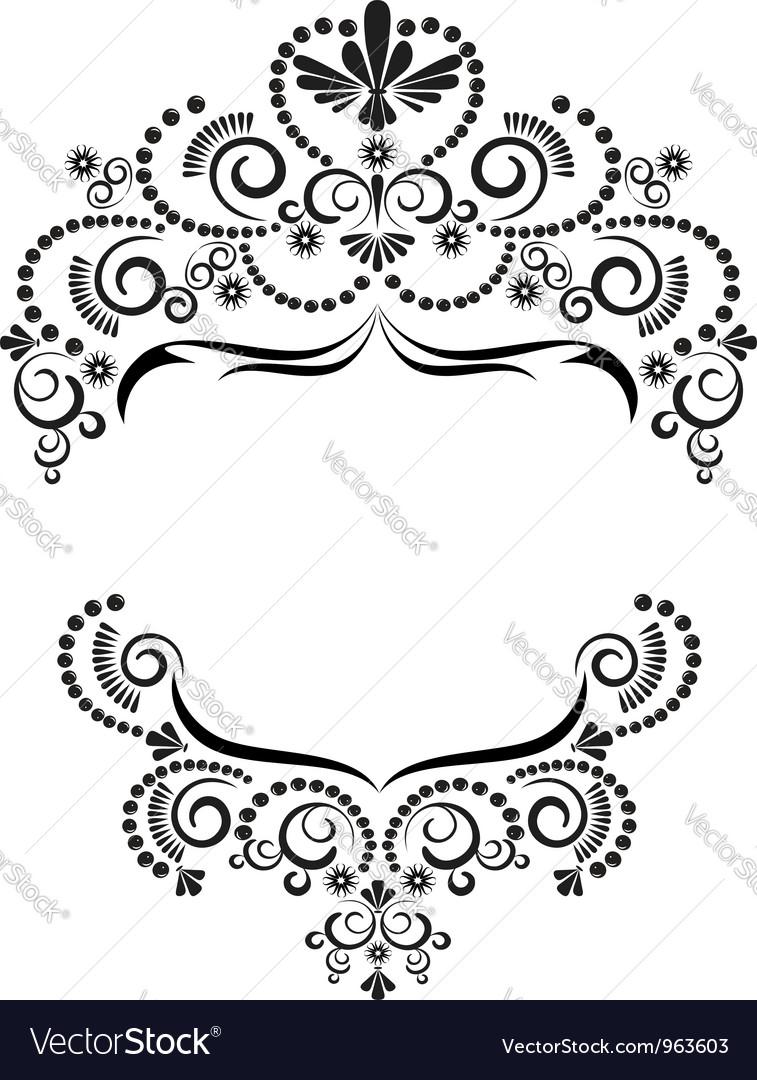 Dark ornamental frame on white background vector image