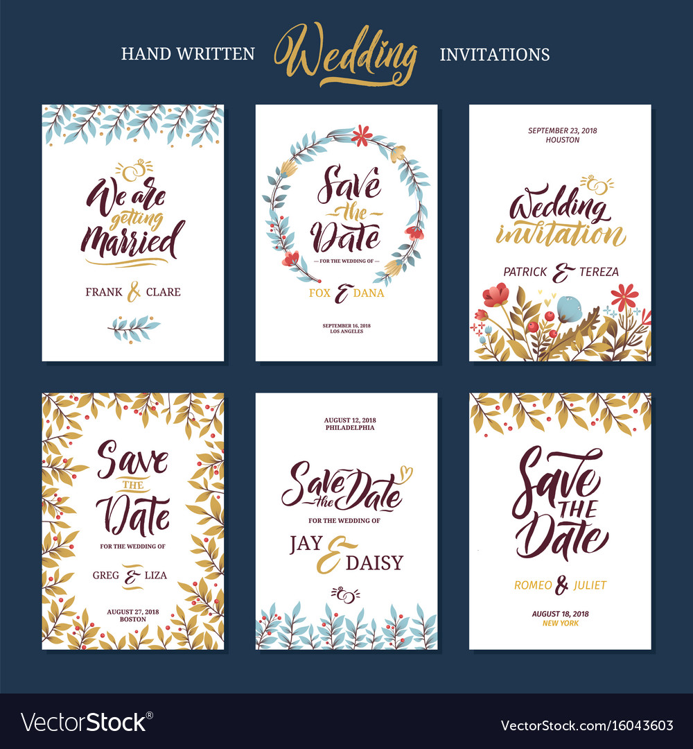 Invitation cards for wedding with calligraphy