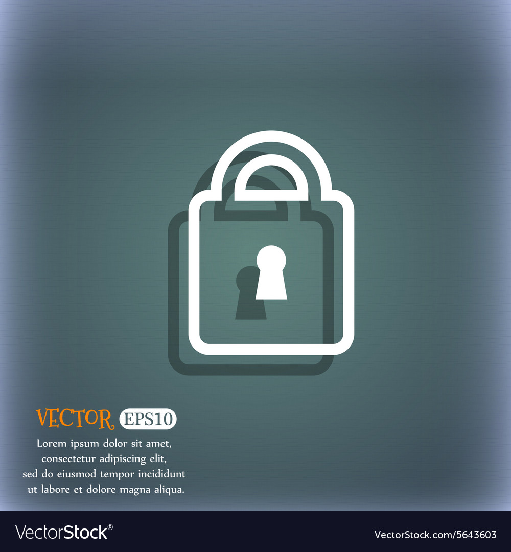Lock icon symbol on the blue-green abstract vector image