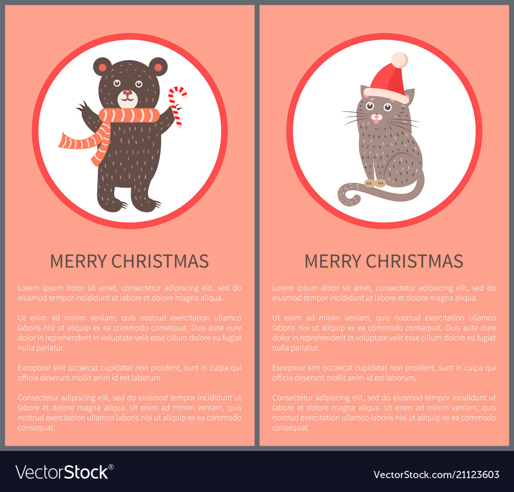 Merry christmas icon of bear and cat