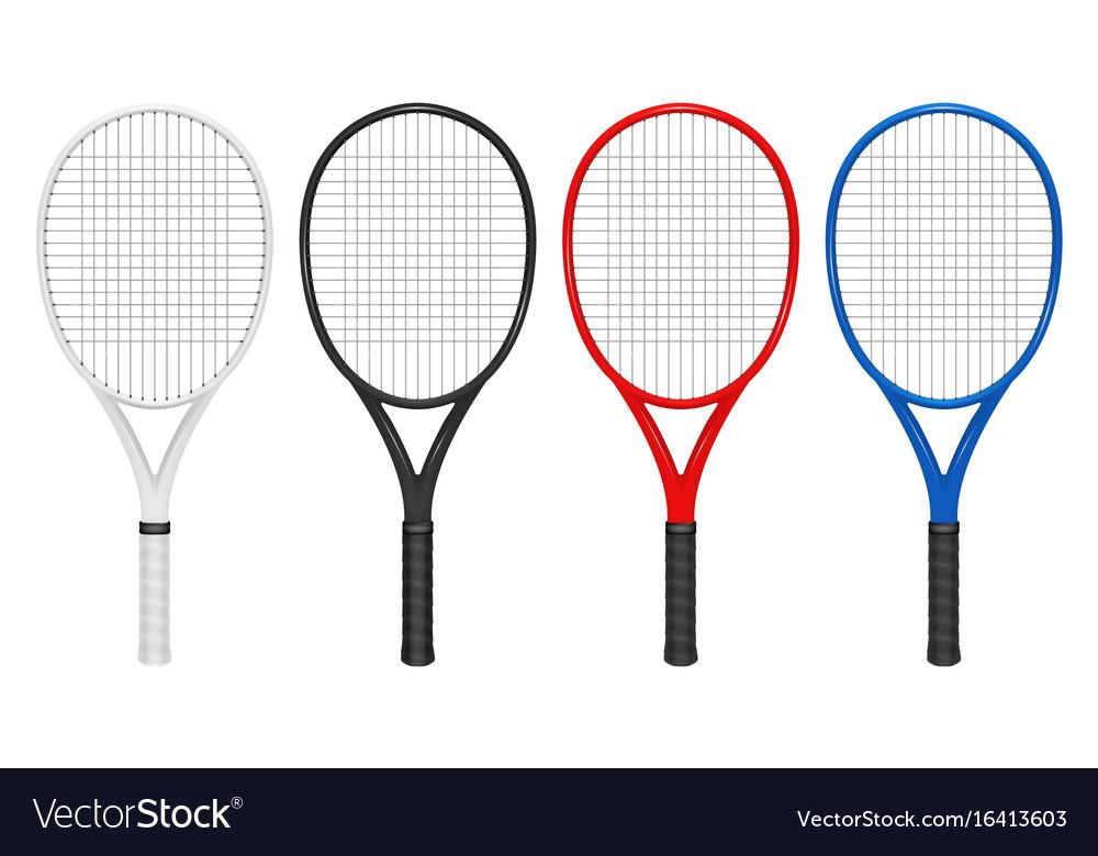 Realistic tennis racket set closeup vector image