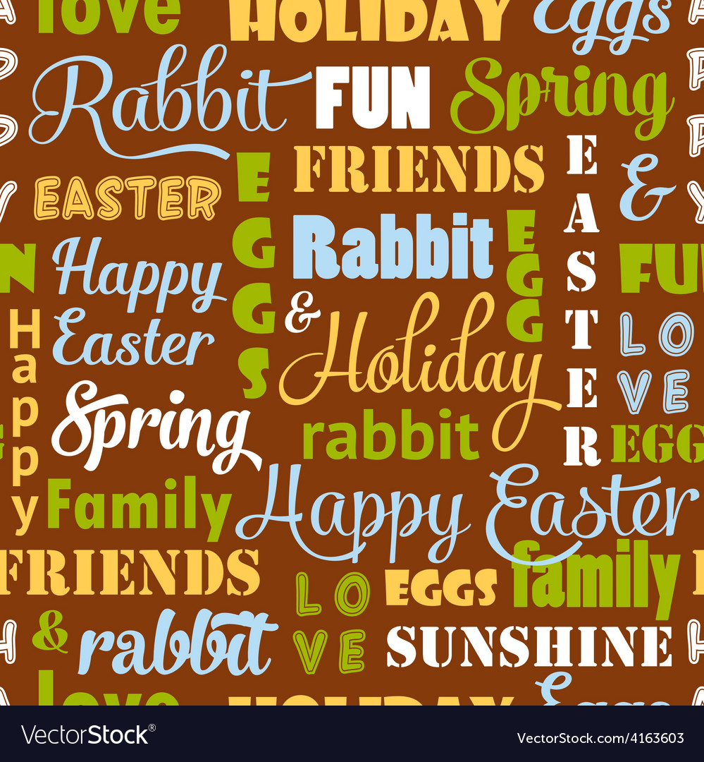 Seamless easter pattern with typography