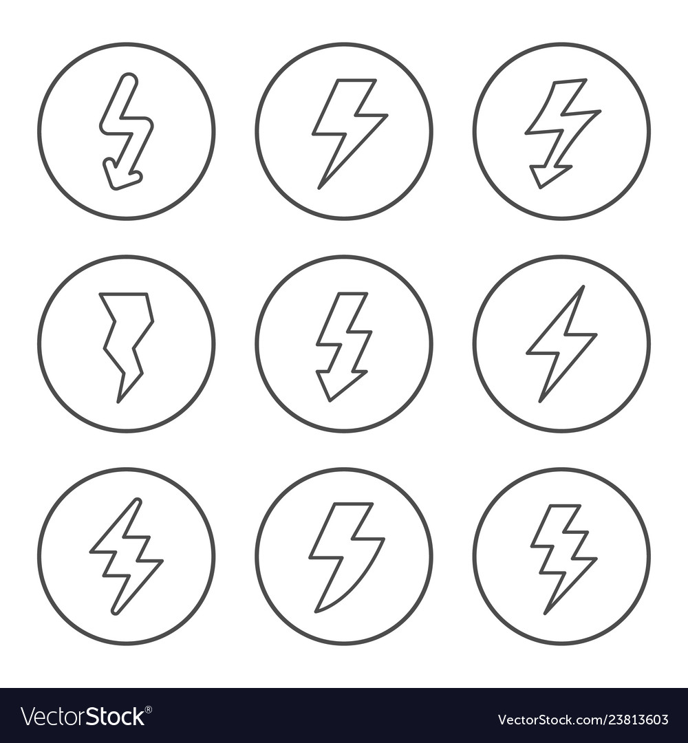 Set round line icons of lightning